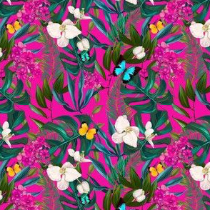 "4"" Love Summer Florals & Tropical Leaves - Fuchsia"