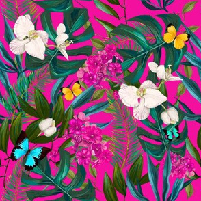 "8"" Love Summer Florals & Tropical Leaves - Fuchsia"