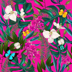 "21"" Love Summer Florals & Tropical Leaves - Fuchsia"