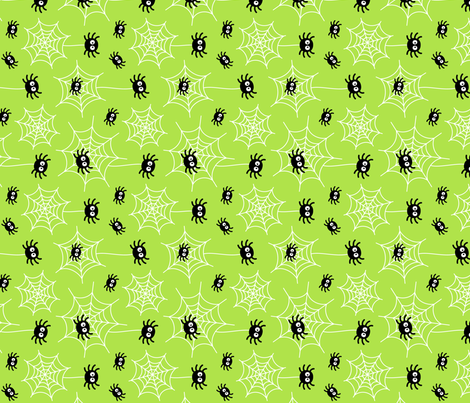 spiders and webs on lime green » halloween rotated fabric by misstiina on Spoonflower - custom fabric