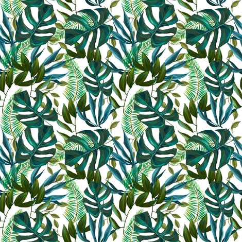 "4"" Love Summer Tropical Leaves - Mix and Match fabric by shopcabin on Spoonflower - custom fabric"