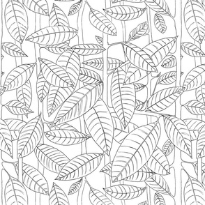 Black outlined leaves on white background