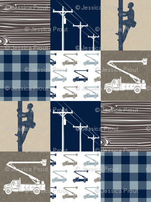 lineman patchwork - tan and brown - plaid