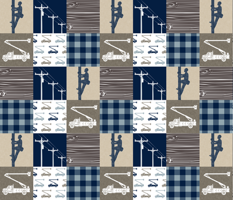 lineman patchwork - tan and brown - plaid fabric by littlearrowdesign on Spoonflower - custom fabric