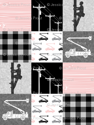 lineman patchwork - pink -  plaid