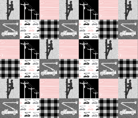 lineman patchwork - pink -  plaid fabric by littlearrowdesign on Spoonflower - custom fabric