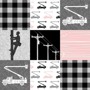 lineman patchwork - pink -  plaid