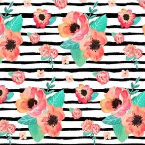 Summer Floral & Stripes - Coral & Peach Flowers Garden Blooms Baby Girl Nursery GingerLous B