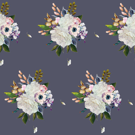 "4"" Spring Bouquet - Dark Lilac fabric by shopcabin on Spoonflower - custom fabric"