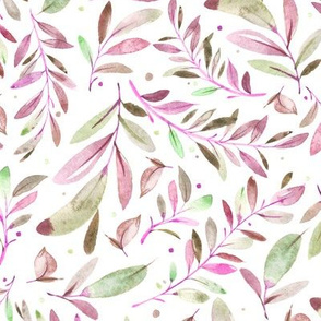 Watercolor Leaves & Branches in Greens, Purples and Pinks, SCALE C