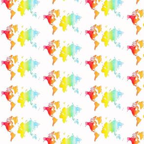 Watercolor World Map Rainbow