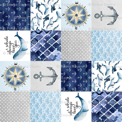 Nautical // I Whale always love you - wholecloth Cheater Quilt - Rotated