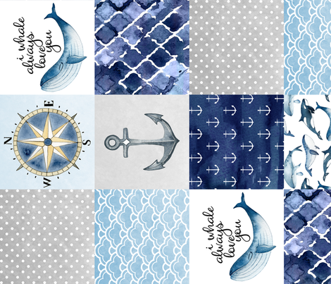 Nautical // I Whale always love you - wholecloth Cheater Quilt - Rotated fabric by longdogcustomdesigns on Spoonflower - custom fabric