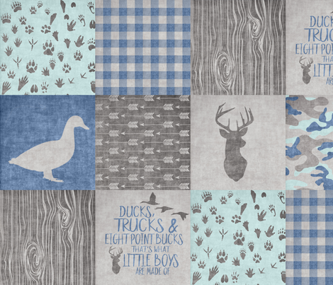 Ducks & Trucks - Wholecloth Cheater Quilt - Navy/Mint fabric by longdogcustomdesigns on Spoonflower - custom fabric