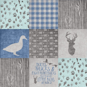 Ducks & Trucks - Wholecloth Cheater Quilt - Navy/Mint