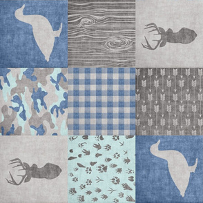 Ducks & Trucks - Wholecloth Cheater Quilt Navy/Mint  - Rotated