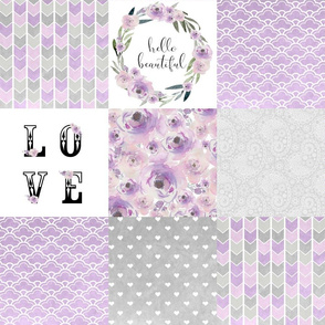 Hello Beautiful Watercolor - Wholecloth Cheater Quilt