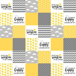 3 inch - you are my sunshine - wholecloth cheater quilt