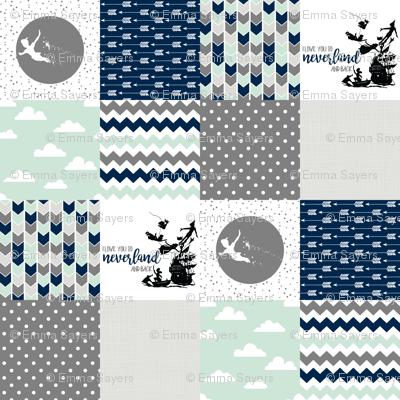 Navy/Mint - Neverland // Peter Pan - Wholecloth Cheater Quilt