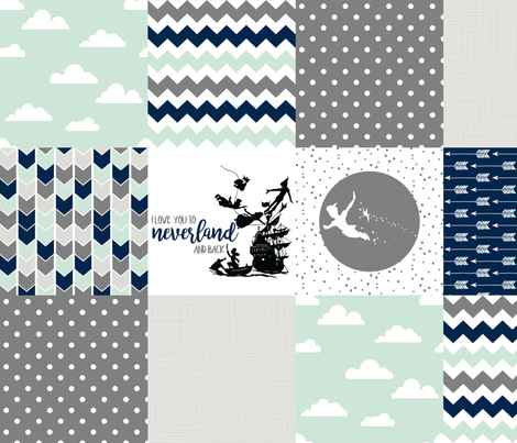 Navy/Mint - Neverland // Peter Pan - Wholecloth Cheater Quilt fabric by longdogcustomdesigns on Spoonflower - custom fabric