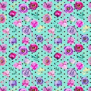 Purple and Gold Floral Toss Polka Dots on MINT 4""