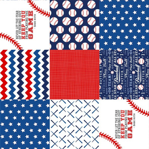 Baseball Wholecloth Cheater Quilt - Rotated