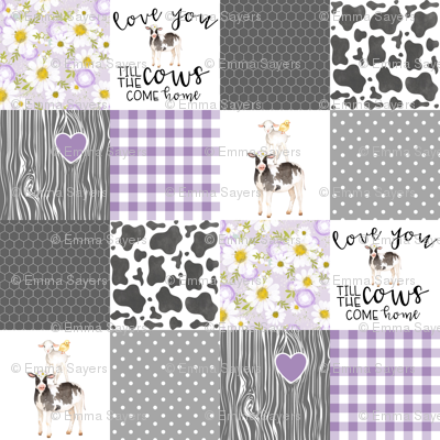 Purple - Farm // Love you till the cows come home - wholecloth cheater quilt