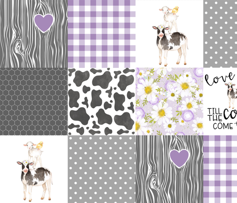 Purple - Farm // Love you till the cows come home - wholecloth cheater quilt fabric by longdogcustomdesigns on Spoonflower - custom fabric