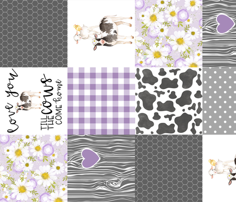 Purple - Farm // Love you till the cows come home - wholecloth cheater quilt - Rotated fabric by longdogcustomdesigns on Spoonflower - custom fabric