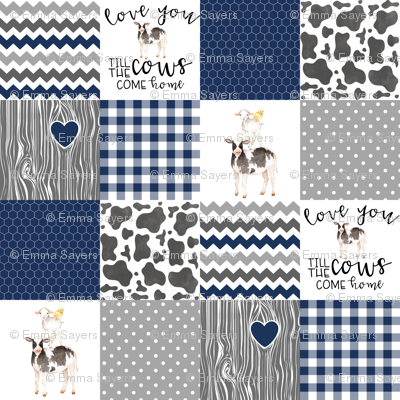 Navy - Farm // Love you till the cows come home - wholecloth cheater quilt