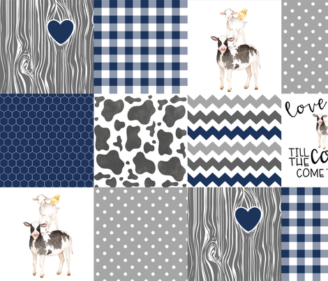 Navy - Farm // Love you till the cows come home - wholecloth cheater quilt fabric by longdogcustomdesigns on Spoonflower - custom fabric