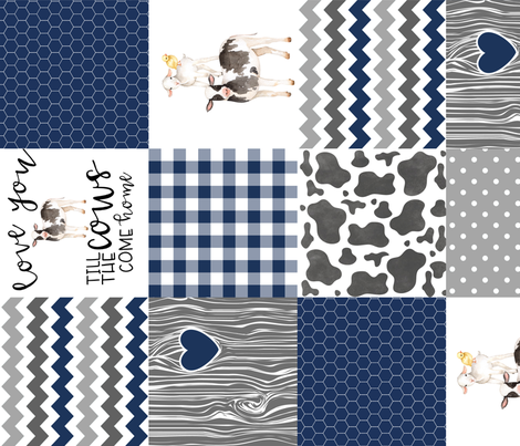 Navy - Farm // Love you till the cows come home - wholecloth cheater quilt - rotated fabric by longdogcustomdesigns on Spoonflower - custom fabric