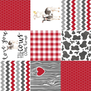 Red - Farm // Love you till the cows come home  - Wholecloth Cheater Quilt - Rotated