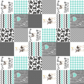 3 inch Farm // Love you till the cows come home - wholecloth cheater quilt - rotated