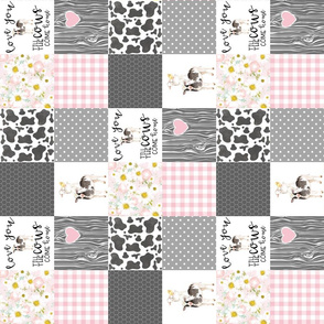 3 inch - Farm // Love you till the cows come home - wholecloth cheater quilt - pink - rotated