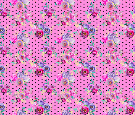 """Purple and Gold Floral Bouquets Polka Dots on Pink 7x6"""" fabric by greenmountainfabric on Spoonflower - custom fabric"""