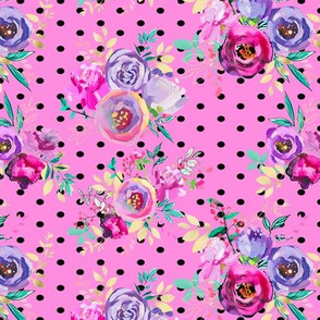 Purple and Gold Floral Bouquets Polka Dots on Pink 7x6""