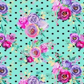 """Purple and Gold Floral Bouquets Polka Dots on MINT 7x6"""""""