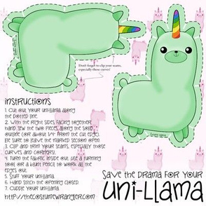 Sew Your Own Mini Minty Green Uni Llama