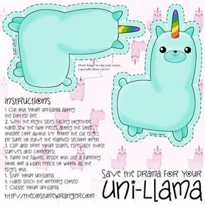 Sew Your Own Mini Teal Uni Llama