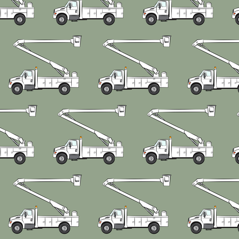 bucket trucks - sage green  fabric by littlearrowdesign on Spoonflower - custom fabric