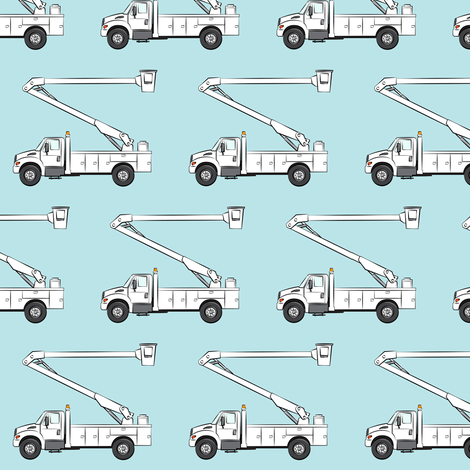 Bucket trucks baby blue fabric littlearrowdesign for Little blue truck fabric