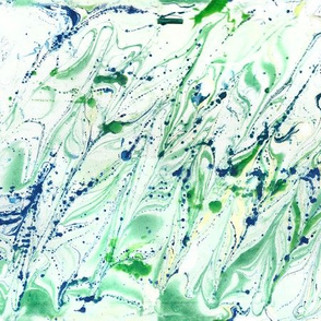 watercolor floating lines blue + green