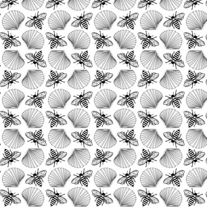 Shells and Bees all over close print