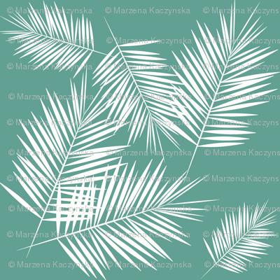 Micro scale - palm leaf white on aqua
