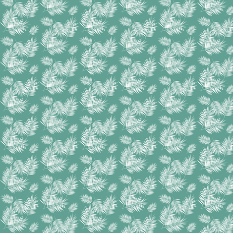 Micro scale - palm leaf white on aqua fabric by sunny_afternoon on Spoonflower - custom fabric