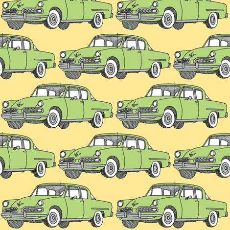 Nifty Fifties green 1954 Studebaker on  fabric by edsel2084 on Spoonflower - custom fabric