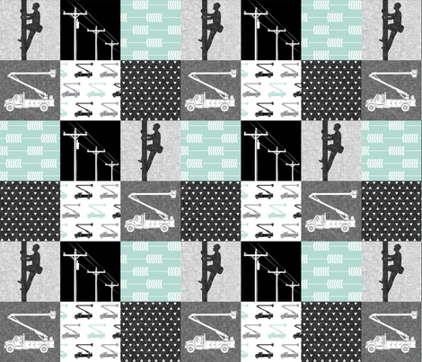 lineman patchwork - dark mint - arrows fabric by littlearrowdesign on Spoonflower - custom fabric