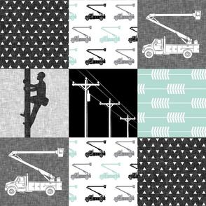 lineman patchwork - dark mint - arrows