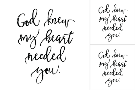 1 blanket + 2 loveys: God Knew My Heart Needed You fabric by ivieclothco on Spoonflower - custom fabric